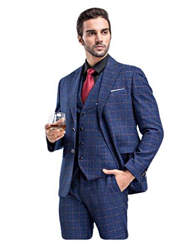 yffushi da uomo 3pezzi Slim Fit Lattice Classic formale da matrimonio feste Blazer Pantaloni Sapphire (One Button Wool Blazer)