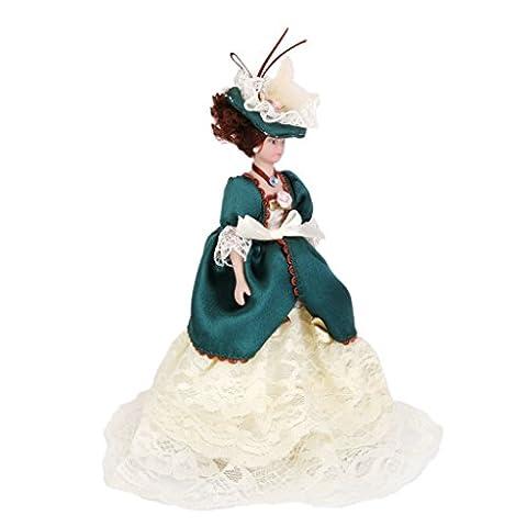 Gazechimp Poupées en Porcelaine Miniatures Madame Victorienne Dans Robe Verte Avec Support