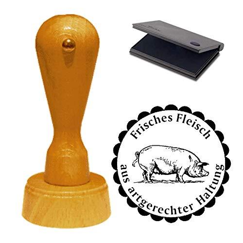 Stempel « FRISCHES FLEISCH AUS ARTGERECHTER HALTUNG » mit Schwein Motiv - ca. Ø 40 mm - Motivstempel mit Kissen 02 Bauernhof Vieh
