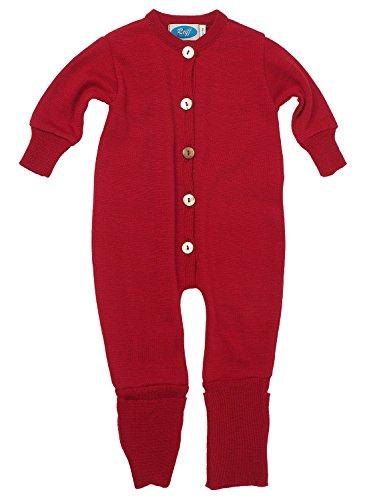 Reiff Baby Overall/Schlafanzug Frottee, 70% Merino-Schurwolle kbT. / 30% Seide (62/68, burgund)