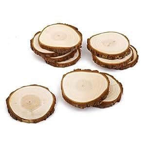 Pixnor Holz Scheiben ca. 8-9 CM Holz Scheiben für DIY Handwerk Hochzeit 10pcs
