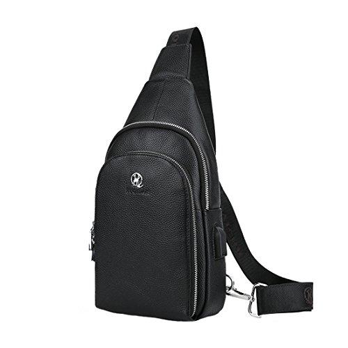 Da uomo In vera pelle Sling borse petto messenger Business casual Crossbody bag, Brown, Taglia unica Black1