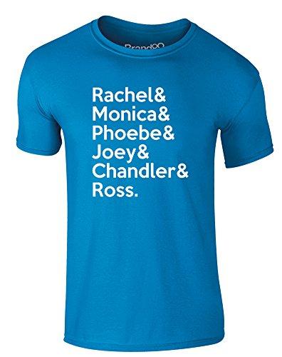 Brand88 - Friends Cast, Erwachsene Gedrucktes T-Shirt Azurblau/Weiß