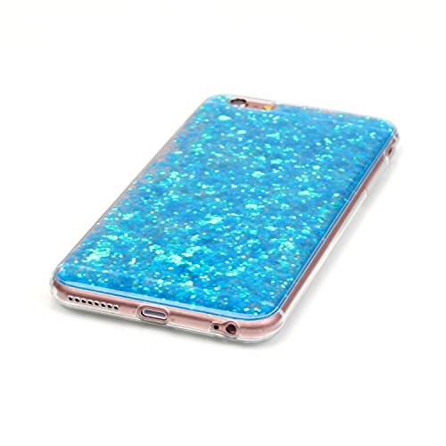 Custodia Cover per iPhone 6 Plus/6S Plus 5.5,KunyFond Lusso Moda Brillantini Glitter Bling Placcatura Custodia Ultra Slim Soft Tpu Silicone Case Cover Scintillare Luccichio Cristallo Morbida Gel Prote bleu chiaro