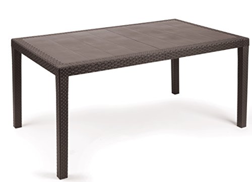 Kunststoff Gartentisch Prince Mokka in Rattan Optik, 150 x 90 cm, von IPAE Progarden, Made IN Europe
