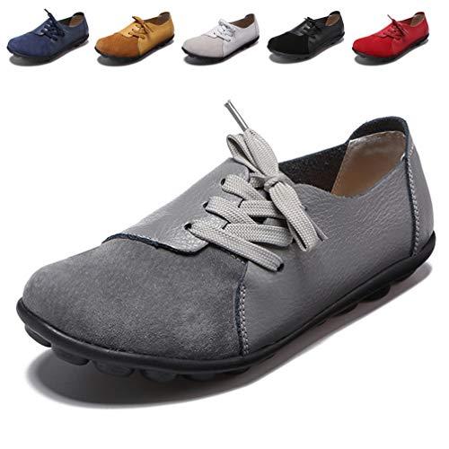 Hishoes Damen Mokassin Bootsschuhe Leder Loafers Fahren Flache Schuhe Halbschuhe Slippers Erbsenschuhe, 41 EU=Etikettengröße 41