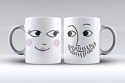 Pack 2 tazas ilustración cara hombre y mujer decorada desayuno regalo