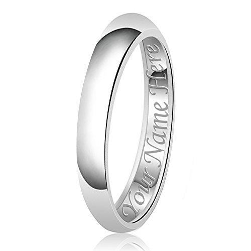 3mm Personalisierung Name Gravur Klassische Sterling Silber Ehering Schlicht Ring, Größe 55 (17.5) (3 Mm Ehering)