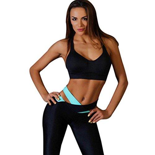 Sporthosen Leggings Yoga Hose Frauen Radhose Lange Hosen Trainings Freizeithosen Slim Fit Strumpfhose Gymnastik Hosen Eignungs Elastische Gamaschen, ABsoar (L, Blau) -