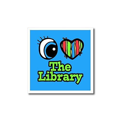 3dRose ht_106628_1 Bright Eye Heart I Love The Library Bügelbild für weißes Material, 20,3 x 20,3 cm