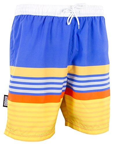 GUGGEN Mountain Herren Badeshorts Beachshorts Boardshorts Badehose Schwimmhose Männer mit Muster *Print* Blau Gelb L