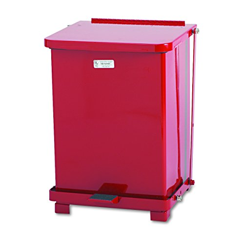Defenders Biohazard Step Can, Square, Steel, 7 gal, Red (Rubbermaid Mülleimer Rot)