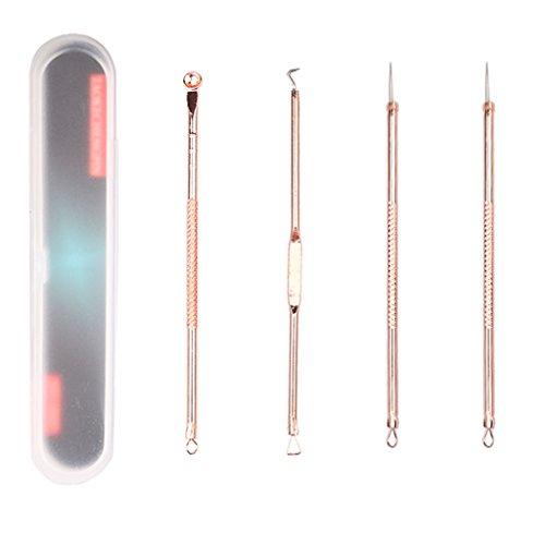 Gazechimp 4pcs Pro Pince à Epiler à Retirer les Points Noirs Acné Aiguille Boutons en Acier Inox Blemish Extracteurr avec Boîte de Rangement pour un Retrait Anti-imperfections