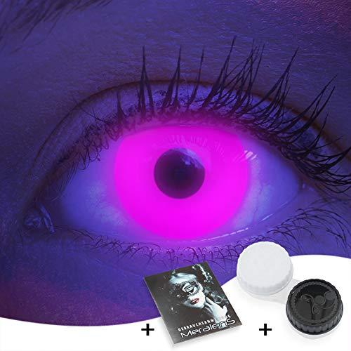 Farbige UV Kontaktlinsen 1 Paar Pinke Schwarzlicht Glow Pink Neon Farblinsen. Jahreslinsen Topqualität zu Halloween, Fasching, Fastnacht, Karneval inkl. Kontaktlinsenbehälter - Ohne Stärke