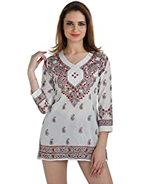 Ladies Kurti Cotton Tops And Tunics Hand Embroidery Chikankari Kurta For Women