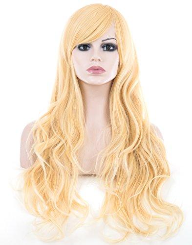 Spretty Lange charmante große lockige wellenförmige Perücken mit schrägen Pony für Cosplay-Kostüm-Partei der Frauen (helle Blondine)