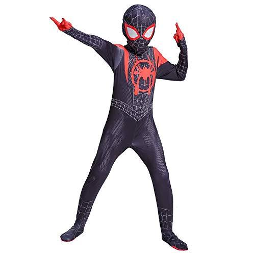 YIWANGO Spiderman Kostüm Kinder Erwachsene Cosplay Bodysuit Druck Spinne Muster Halloween Maskerade Superhelden Set,Child-Medium (Bodysuit Kostüm Muster)