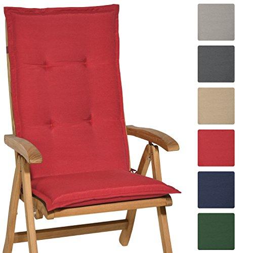 Beautissu Cuscino Loft HL per sedie sdraio reclinabili e dondolo 120x50x6cm - soffice e comoda gommapiuma - rosso