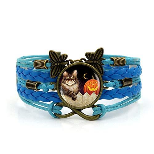 Blisfille Halloween Kürbis Katze Zeit Edelstein Armband Vintage Schmetterling Infinity Gewebt Leder Schmuck Damen Herren Schmuck