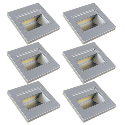 6x Mengs® 1W Cob Led pared & Escaleras Iluminación Luz nocturna luz & Bombilla LEDs Escaleras (Blanco Frío 6000K, ángulo de haz de 140º, 110V-260V AC) luces de bajo consumo