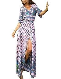 KE1AIP Mujeres Boho V cuello floral 3/4 manga lateral deslizamiento Tie-cintura de manga larga floral Maxi vestido largo