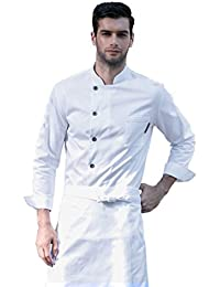 Cheflife Uniformes de la capa de manga larga blanca de la cocina del cocinero del restaurante del hotel