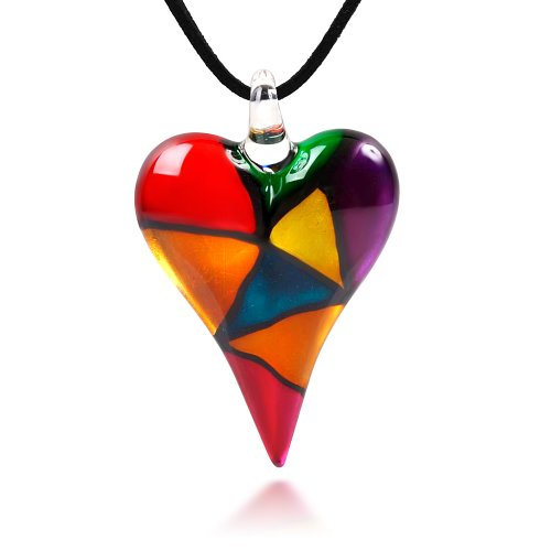 Hand Blown Venetian Murano Glass Multi-Colored Mosaic Design Heart Pendant Necklace, 18-20 inches