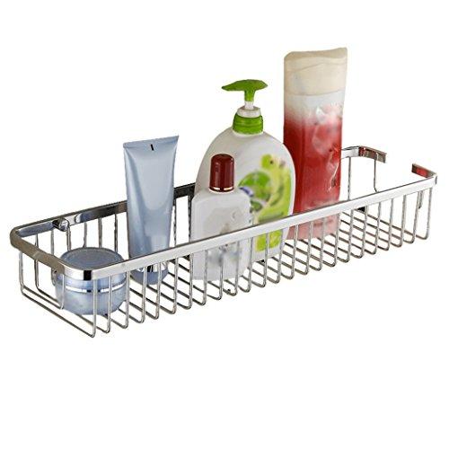 Uus Edelstahl-Badezimmer-Quadrat-Gestell, Küche Einzelschicht wandmontiertes Lagerregal Rost-Beweis Duschkorb Silber Shelf (größe : S)