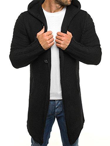 OZONEE Herren Strickjacke Kapuzenpullover Hoodie Sweatshirt MADMEXT 1719 XL SCHWARZ