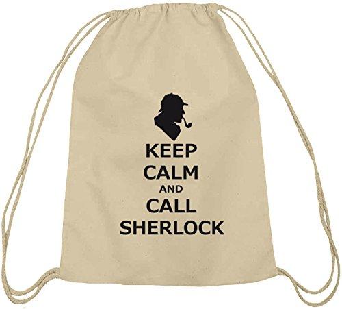 Shirtstreet24, Keep Calm And Call Sherlock, Baumwoll natur Turnbeutel Rucksack Sport Beutel Natur