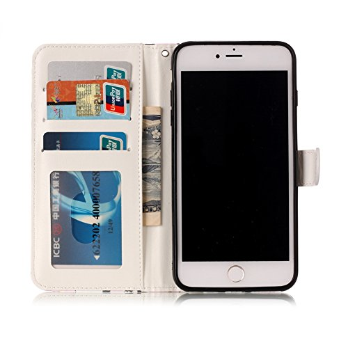 KM-WEN® Schutzhülle für Apple iPhone 7 Plus (5,5 Zoll) Bookstyle Mode Glatt Geprägte Farbmalerei Series Campanula Eule Muster Magnetverschluss PU Leder Wallet Case Flip Cover Hülle Tasche Schutzhülle  Farbe-2