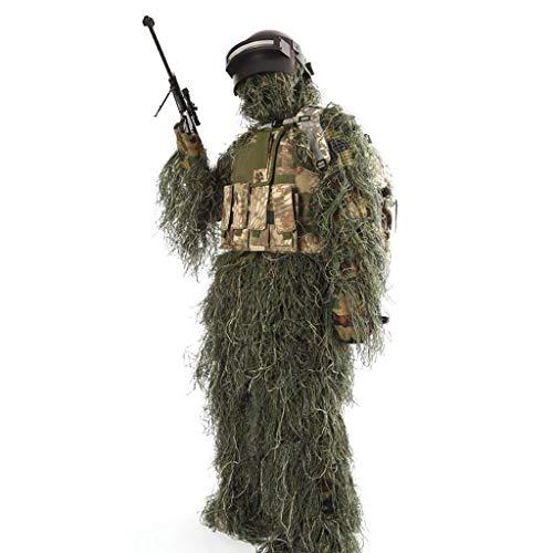 ZHhome Tarnanzug Camouflage mit Kapuze Real Man CS Jagd Schießen Camouflage Bionic Training Uniform Sonnenschirm Anzug für Wildlife Fotografie Halloween oder Weihnachten, eine Größe
