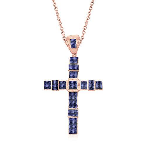 silvernshine Jewels Unisex 14K Rose Gold FN Tansanit CZ Diamanten Micro pave Kreuz Anhänger Halskette