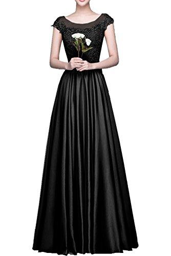 Milano Bride Einfach Traegerlos Herzausschnitt Chiffon A-linie Abendkleider Brautjungfernkleider BallKleider Partykleider lang Schwarz