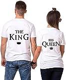 AJUN shop King Queen Shirts Couple Shirt Pärchen T-Shirts Paar Tshirt König Königin Kurzarm 1 Stücke