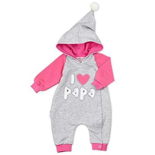 Baby Sweets Overall Mädchen grau pink | Motiv: I Love Papa | Babystrampler mit Kapuze für Neugeborene & Kleinkinder | Größe: Newborn (56)...