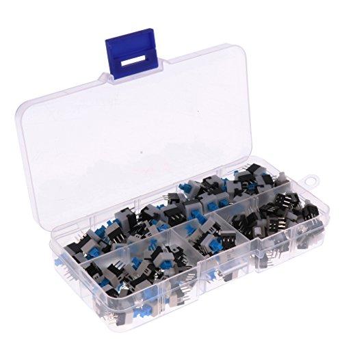 Homyl 120 Stücke Sortimentbox 6-poliger Push Button switch Druckknopf Tactile Switch Schalter Druckknopfschalter 8x8mm / 7x7mm / 5.8x5.8mm -