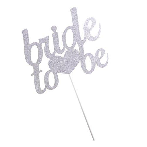 Sharplace Hochzeit Kuchenstecker Tortenstecker Kuchen Torte Deckel Party Deko - Silber Bride To Be, 11 x 9cm