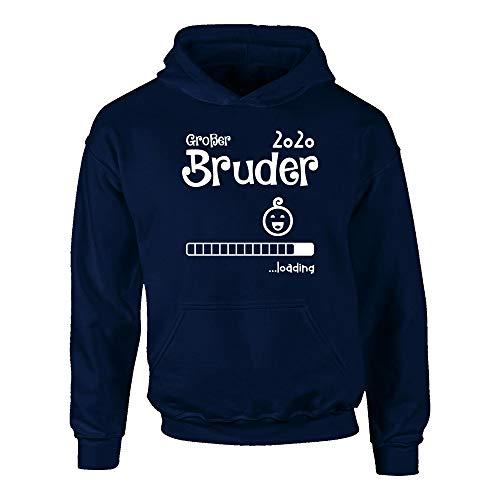 Shirtdepartment - Kinder Hoodie - Großer Bruder 2020 Loading, dunkelblau-Weiss, 98-104 Bruder Hoodie