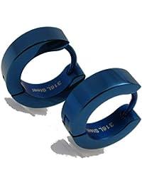 1b01cd844bef Acero inoxidable Pendientes Clásico Pendientes de aro de titanio azul  brillante 4 mm 13