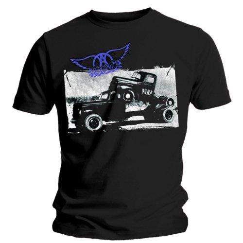 Loudclothing - Camiseta de Aerosmith con cuello redondo de manga corta para hombre, talla 44/46, color Negro