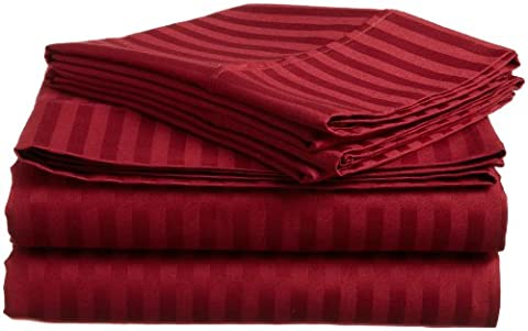 Superior 100% Premium Long-Staple Combed Cotton 400 Thread Count Double 4-Piece Bed Sheet Set, Stripe,
