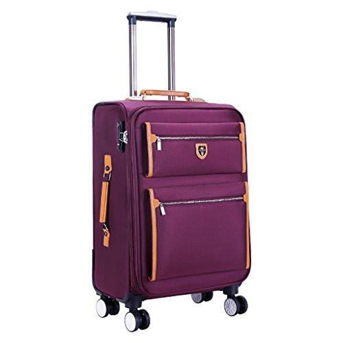 Trolley 4 Räder Business Trip Koffer Reise Outdoor Hochleistungsgepäck Lightweght Reisetasche Drag Bag Handtasche Stamm Passagier Box Rucksack (Color : Purple, Size : 22 INCHES) -