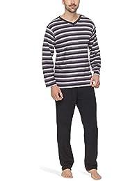 Frottee-Schlafanzug für Herren mit Streifen-Design - Moonline