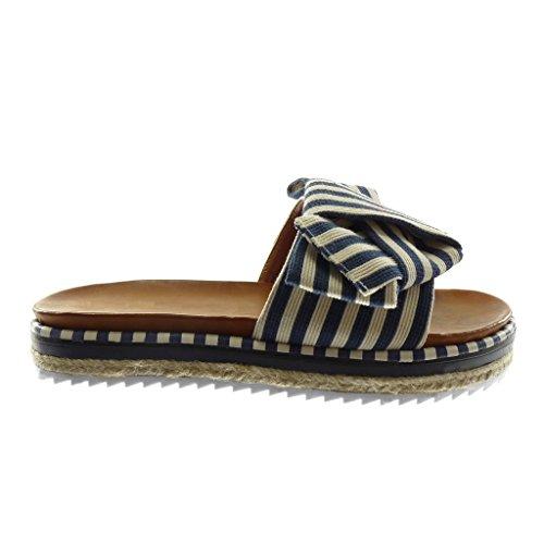Sandalo on Modo Di 3 Del Blu Bicolor Slip Mulo Tallone Piattaforma Scarpa Cm 5 Donna Angkorly Linee Nodo wXqUdgw