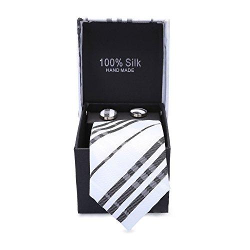 LanSilk Men Tie Set - Klassische Auswahl an schmalen Business Krawatten, Manschettenknöpfe und...