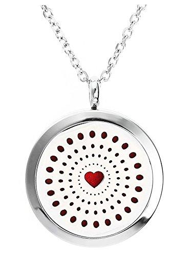 JOVIVI Edelstahl Rund Aromatherapie Ätherische Öle Diffusor Halskette Licht des Liebe Herz Floating Medaillon Locket Anhänger