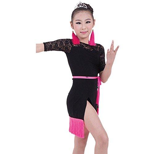 Uniformen Mädchen Tanz Kostüme Für Und (Byjia Kinder Tassel Latin Tanz Praxis Uniformen Kleid Kostüme Teen Girls Wear Kids Bühne Aufführungen Gruppe B)