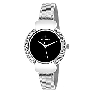ALTEDO Analogue Women's Watch (Black Dial Silver Colored Strap)