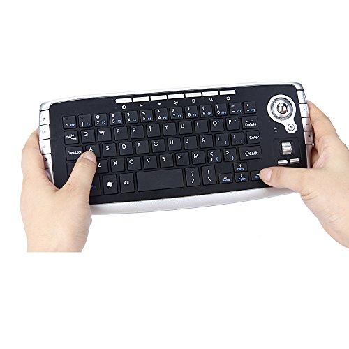 ZFD Kabellose Maus und Tastatur in einem, kabellose Trackball-Tastatur Mini 2.4G 1200DPI Multimedia USB-Maus und Tastatur mit 78 Tasten Ergonomie Geeignet für Game Office -